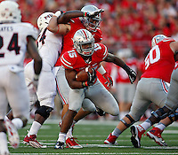 Ohio State Buckeyes running back Ezekiel Elliott (15) finds running room after a block by Ohio State Buckeyes tight end Nick Vannett (81) against Northern Illinois Huskies defense in the 3rd quarter of their game at Ohio Stadium on September 19, 2015.  (Dispatch photo by Kyle Robertson)