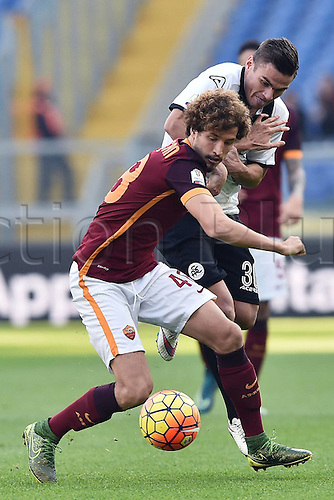 16.12.2015. Rome, Italy. Copa Italiana cup match between Roma and Spezia at Stadio Olimpico, Rome.   Josip Brezovec challenged by Salih Ucan  The game ended in a 0-0 draw and Spezia won the penalty shoot-out by a score of 2-4.