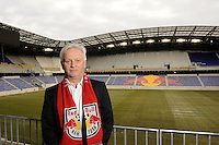 New York Red Bulls head coach Hans Backe poses for a portrait after a press cenference at Red Bull Arena in Harrison, NJ, on January 13, 2010.