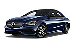 Stock pictures of low aggressive front three quarter view of 2017 Mercedes Benz CLA-Class CLA250 4 Door Sedan Low Aggressive