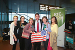 With Compliments      Free Pics<br /> Boston Mayor Marty Walsh is welcomed to Shannon Airport this morning this morning by locals of Callowfeenish, Carna, Galway ( Brid Mulkerrin, Irene Flaherty, Maureen Flaherty, Cathy Mulkerrin and Mary Ellen Flaherty.<br /> Cathaoirligh and Irish mayors plus US multi-national business representatives among those to welcome Mayor back to Shannon<br /> Friday, 19 September 2014:  Ties between the West of Ireland and the Boston area deepened today as the newly elected Mayor of the most Irish city in the US, Marty Walsh, began his Irish &lsquo;homecoming&rsquo; with a business breakfast &ndash; his first official engagement on his visit - at Shannon Airport.<br /> Hosted by the Shannon Group plc, the event was attended by over 125 people drawn from the business community, among them representatives of leading US multi-nationals with operations across the West and South of Ireland, Cathaoirligh and Mayors from several counties as well as members of Mayor Walsh&rsquo;s extended family, including his mother Mary, and friends from Connemara.<br /> Welcoming Mayor Walsh to Shannon Airport, Group Chairman Rose Hynes said that his visit - his first international trip since being sworn in last January &ndash; will only serve to strengthen links between the Boston/Massachusetts region and the West of Ireland . The importance of these links is signified by the presence in Shannon of the first citizens of so many counties and cities in Ireland. They are here to represent the people of these counties and cities, all of which have strong connections with the Boston area.<br /> &ldquo;Mayor Walsh&rsquo;s election as the first Irish American Mayor of Boston in 20 years is a great honour for all Irish people and in particular for the West of Ireland.  Just six decades after his father John and mother Mary emigrated from Carna and Ros Muc respectively, he climbed, to the highest office in the most Irish of US cities,&rdquo; the Shannon Group Chairman said.<br /> &ldquo;His arrival here today and the attendance of business peop