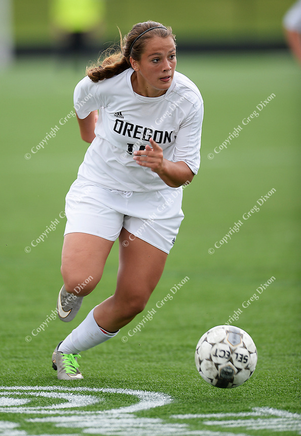 Oregon's Brittyn Fleming brings the ball up field, as Oregon tops Green Bay Southwest 3-0 to win the WIAA Division 2 girls soccer state championship, on Saturday, June 20, 2015 at Uihlein Soccer Park in Milwaukee, Wisconsin