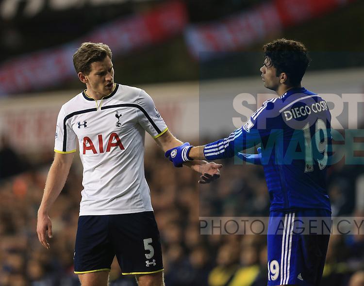 Tottenham's Jan Vertonghen tussles with Chelsea's Diego Costa<br /> <br /> Barclays Premier League - Tottenham Hotspur vs Chelsea - White Hart Lane  - England - 1st January 2015 - Picture David Klein/Sportimage