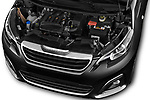 Car Stock 2016 Peugeot 108 Allure 5 Door Micro Car Engine  high angle detail view