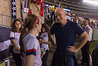 PASADENA, CA - AUGUST 4: Rose Lavelle #16 talks with Gianni Infantino during a game between Ireland and USWNT at Rose Bowl on August 3, 2019 in Pasadena, California.