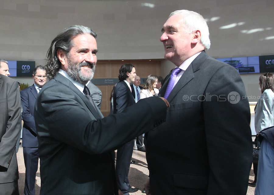07/09/2010.Johnny Ronan & Former Taoiseach Bertie Ahern TD. at the opening of the Convention Centre in Spencers Dock,  Dublin..Photo: Gareth Chaney Collins
