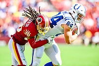Landover, MD - September 16, 2018: Indianapolis Colts tight end Jack Doyle (84) is tackled by Washington Redskins defensive back D.J. Swearinger (36) during game between the Indianapolis Colts and the Washington Redskins at FedEx Field in Landover, MD. The Colts defeated the Redskins 21-9.(Photo by Phillip Peters/Media Images International)