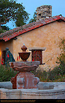 Carmel Mission at Dawn, Mission San Carlos Borromeo de Carmelo 1771, Courtyard Fountain, Fr. Junipero Serra Statue and Mission Outbuilding, Carmel-by-the-Sea, California
