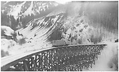 Goose #7 on Butterfly trestle.<br /> RGS  Butterfly, CO  1937
