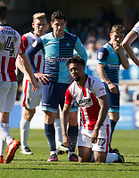 Jordan Cranston of Cheltenham Town after being sent off during the Sky Bet League 2 match between Wycombe Wanderers and Cheltenham Town at Adams Park, High Wycombe, England on the 8th April 2017. Photo by Liam McAvoy.