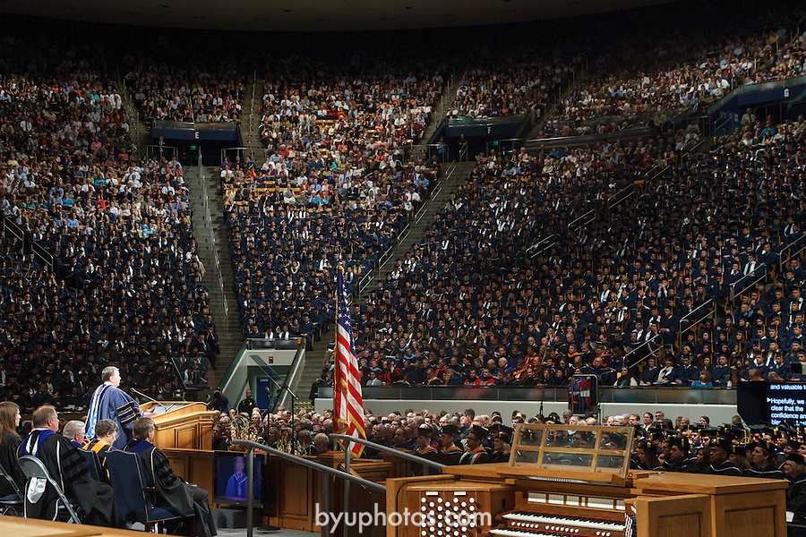 1204-40 1251<br /> <br /> 1204-40 Spring Commencement<br /> <br /> Brigham Young University Graduation<br /> <br /> Commencement Address in the Marriott Center MC, Audience, American Flag, Podium, Speaking<br /> <br /> April 19, 2012<br /> <br /> Photo by Mark A. Philbrick/BYU<br /> <br /> © BYU PHOTO 2012<br /> All Rights Reserved<br /> photo@byu.edu  (801)422-7322