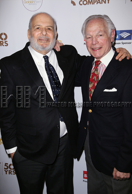 Alfred Uhry and Robert Waldman attends 'The Robber Bridegroom' Off-Broadway Opening Night performance press reception at Laura Pels Theatre on March 13, 2016 in New York City.