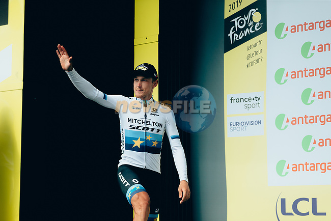 European Champion Matteo Trentin (ITA) Mitchelton-Scott wins the days combativity prize at the end of Stage 12 of the 2019 Tour de France running 209.5km from Toulouse to Bagneres-de-Bigorre, France. 18th July 2019.<br /> Picture: ASO/Thomas Maheux | Cyclefile<br /> All photos usage must carry mandatory copyright credit (© Cyclefile | ASO/Thomas Maheux)
