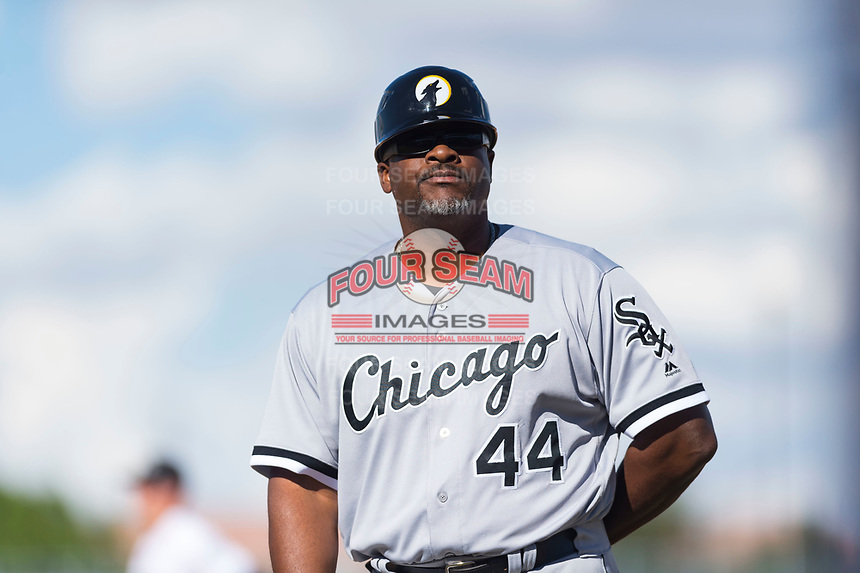 Glendale Desert Dogs hitting coach Charles Poe (44), of the Chicago White Sox organization, during an Arizona Fall League game against the Peoria Javelinas at Peoria Sports Complex on October 22, 2018 in Peoria, Arizona. Glendale defeated Peoria 6-2. (Zachary Lucy/Four Seam Images)