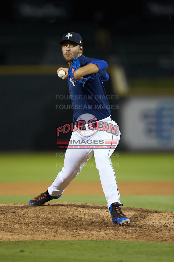 Columbia Fireflies relief pitcher Tylor Megill (35) in action against the Rome Braves at Segra Park on May 13, 2019 in Columbia, South Carolina. The Fireflies defeated the Braves 6-1 in game two of a doubleheader. (Brian Westerholt/Four Seam Images)