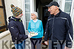 96 yr old Betty Moran from Strand Road with Frank Ryan and Gerard Fitzgerald of Meals on Wheels on Wednesday