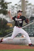 St. Johns University Red Storm pitcher Kyle Hansen #58 pitching during a game against the University of Illinois Fighting Illini at BB&T Coastal Field on March 02, 2012 in Myrtle Beach, SC.  Illinois defeated St. Johns 4-0. (Robert Gurganus/Four Seam Images)