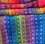 Colorful woven fabric, Castro, Chiloe Island, Chile, Patagonia, South America