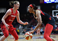 Washington, DC - July 13, 2019: Las Vegas Aces center A'ja Wilson (22) is guarded by Washington Mystics center Emma Meesseman (33) during 1st half action of game between Las Vegas Aces and Washington Mystics at the Entertainment & Sports Arena in Washington, DC. (Photo by Phil Peters/Media Images International)