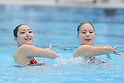 L to R Chisato Haga, Misa Sugiyama, ..AUGUST 14, 2011 - Synchronised Swimming : Mermaid Japan Cup 2011, Misa Sugiyama and Chisato Haga of perform during the duet technical routine..at Kyoto Aquarena, Japan. ..(Photo by Akihiro Sugimoto/AFLO SPORT) [1080]
