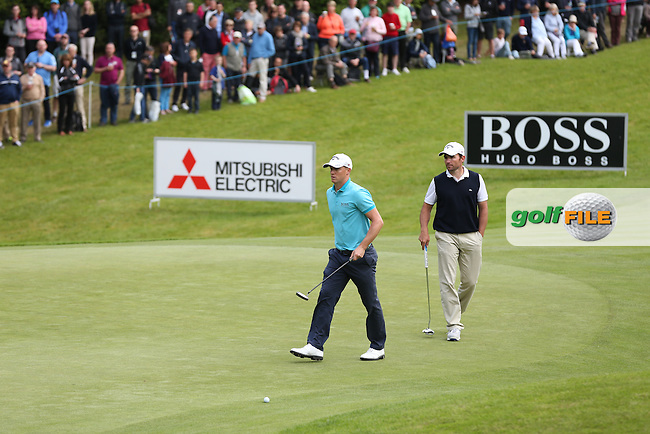 Alex Noren (SWE) and Ignacio Garrido (ESP) during Round Three of the 2015 BMW PGA Championship over the West Course at Wentworth, Virginia Water, London. 23/05/2015. Picture David Lloyd | www.golffile.ie.
