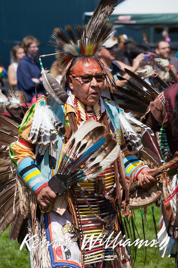 Native Americans dancing at Powwow, Northwest Folklife Festival 2016, Seattle Center, WA, USA.