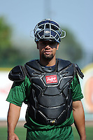 Fort Wayne TinCaps catcher Miguel Del Castillo (27) during practice before a game against the Great Lakes Loons on August 19, 2013 at Dow Diamond in Midland, Michigan.  Great Lakes defeated Fort Wayne 12-5.  (Mike Janes/Four Seam Images)