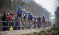 111th Paris-Roubaix 2013..Johan Vansummeren (BEL) pulling through Trouée d'Arenberg.