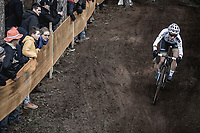 Later winner Sanne Cant (BEL/Beobank-Corendon) downhill.<br /> <br /> Women's Race<br /> UCI CX World Cup Zolder / Belgium 2017
