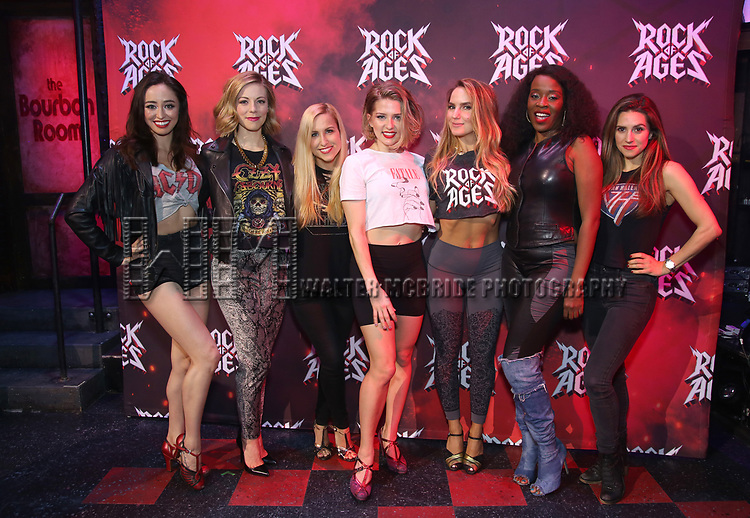 """Ashley E. Matthews, Kirsten Scott, Tiffany Engen, Leah Read, Katie Webber, Jeannette Bayardelle and Autumm Guzzardi during the tech rehearsal for """"Rock of Ages"""" 10th Anniversary Production on June 13, 2019 at the New World Stages in New York City."""
