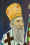 Portrait details of the history of St. Sava church and the Serbian Orthodox religion by iconographer Miloje Milinkovich on the walls of  historic St. Sava Serbian Orthodox Church, Jackson, Calif.
