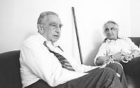 """Edward Teller was a Hungarian-American theoretical physicist who is known colloquially as """"the father of the hydrogen bomb"""". Antonino Zichichi is an Italian physicist who has worked in the field of nuclear physics. Erice 20 agosto 1985. © Leonardo Cendamo"""
