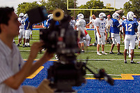 Multiple camera angles and setups are used simultaneously to film a football practice scene of the Friday Night Lights television show during a filming session at Herrmann Field in Pflugerville, TX on Sunday, August 28, 2006.
