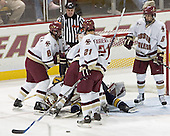 Brett Motherwell, Jeff Bunyon, Cory Schneider, Derek Pallardy, Joe Rooney, Benn Ferreiro, Tim Kunes - Boston College defeated Merrimack College 3-0 with Tim Filangieri's first two collegiate goals on November 26, 2005 at Kelley Rink/Conte Forum in Chestnut Hill, MA.