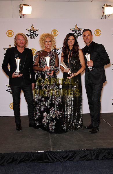 19 April 2015 - Arlington, TX -   Little Big Town, Phillip Sweet, Kimberly Schlapman, Karen Fairchild, Jimi Westbrook.  The 2015 ACM Awards at AT&amp;T Stadium- Press Room<br /> CAP/ADM/MJT<br /> &copy; MJT/AdMedia/Capital Pictures