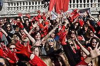 Roma 14 Febbraio 2014<br /> Flash mob mondiale One Billion Rising, Hands off Women, contro la violenza sulle donne, a Trinit&agrave; dei Monti.<br /> Participants of the One Billion Rising movement stage a flashmob dance at the piazza Trinit dei Monti in a bid to highlight and call for an end to violence towards women.