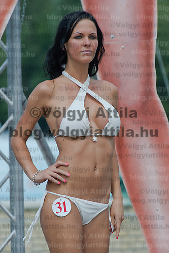 Diana Kovacs attends the Miss Bikini Hungary beauty contest held in Budapest, Hungary on August 06, 2011. ATTILA VOLGYI