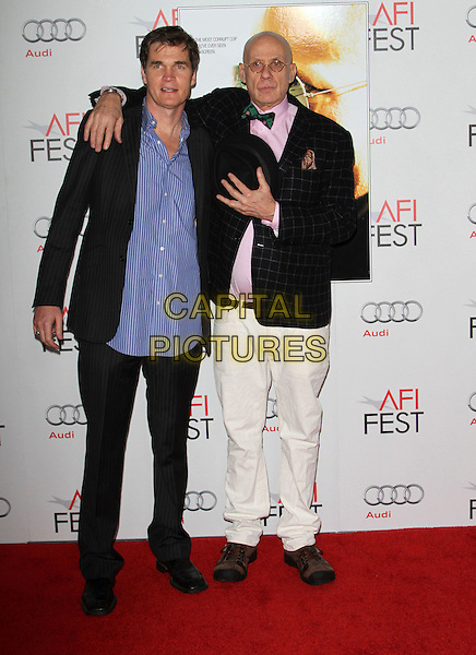 "Clark Peterson, James Ellroy.AFI Fest 2011  Premiere Of ""Rampart"" Held At Grauman's Chinese Theatre, Hollywood, California, USA..November 5th, 2011.full length black suit blue shirt jacket white jeans denim.CAP/ADM/KB.©Kevan Brooks/AdMedia/Capital Pictures."