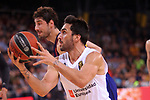 Turkish Airlines Euroleague 2018/2019. <br /> Regular Season-Round 24.<br /> FC Barcelona Lassa vs R. Madrid: 77-70. <br /> Ante Tomic vs Facundo Campazzo.