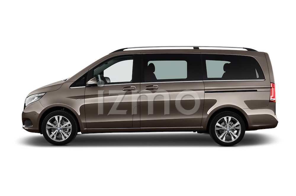 Car Driver side profile view of a 2015 Mercedes Benz V-CLASS AVANTGARDE 5 Door Minivan 2WD Side View