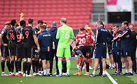15th July 2020; Ashton Gate Stadium, Bristol, England; English Football League Championship Football, Bristol City versus Stoke City; Michael O'Neill Manager of Stoke City offers advice to his team during a water break