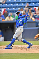 Lexington Legends right fielder Seuly Matias (25) swings at a pitch during a game against the Asheville Tourists at McCormick Field on May 25, 2018 in Asheville, North Carolina. The Tourists defeated the Legends 6-4. (Tony Farlow/Four Seam Images)