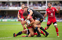 Toulouse Rugby's Maxime Mermoz in action during todays match<br /> <br /> Photographer Bob Bradford/CameraSport<br /> <br /> European Rugby Champions Cup - Bath Rugby v Toulouse - Saturday 13th October 2018 - The Recreation Ground - Bath<br /> <br /> World Copyright © 2018 CameraSport. All rights reserved. 43 Linden Ave. Countesthorpe. Leicester. England. LE8 5PG - Tel: +44 (0) 116 277 4147 - admin@camerasport.com - www.camerasport.com