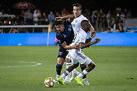 SAN JOSE, CA - SEPTEMBER 25: Andy Rios #25 of the San Jose Earthquakes and Fafà Picault #9 of the Philadelphia Union during a game between Philadelphia Union and San Jose Earthquakes at Avaya Stadium on September 25, 2019 in San Jose, California.