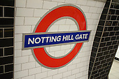 Notting Hill tube station sign.