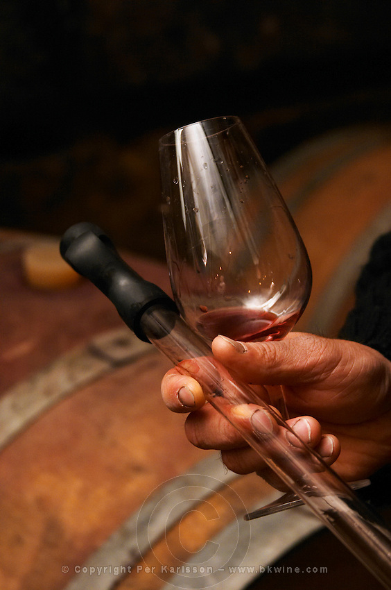 Philippe Viret tasting a barrel sample of aging red wine, glass and pipette in hand. Domaine Viret, Saint Maurice sur Eygues, Drôme Drome France, Europe