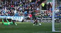 Leicester City's Jamie Vardy is fouled by Huddersfield Town's Terence Kongolo after rounding Ben Hamer to earn a penalty which he subsequently converted for his second and his sides fourth goal <br /> <br /> <br /> <br /> Photographer Stephen White/CameraSport<br /> <br /> The Premier League - Huddersfield Town v Leicester City - Saturday 6th April 2019 - John Smith's Stadium - Huddersfield<br /> <br /> World Copyright © 2019 CameraSport. All rights reserved. 43 Linden Ave. Countesthorpe. Leicester. England. LE8 5PG - Tel: +44 (0) 116 277 4147 - admin@camerasport.com - www.camerasport.com