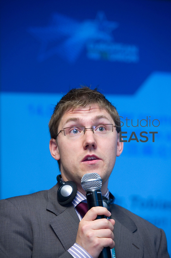 Tobias Skovbjerg Gräs speaks at the 'Let's Embrace Space' conference in European pavilion, during Shanghai World Expo 2010, in Shanghai, China, on July 2, 2010. Photo by Lucas Schifres/Pictobank