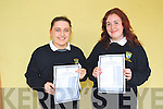 VERY GLAD: Claire Twomey and Jessie Vinsrygg, students from Pobalscoil Inbher Scéine, Kenmare, who were delighted with their Junior Cert results on Wednesday morning.