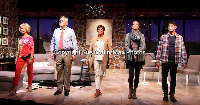 """Curtain Call: As The World Turns' Colleen Zenk stars along with the cast - Peggy J Scott, Malachy Cleary, Colleen Zenk, Brenda Withers and Davy Raphaely in """"Other Desert Cities"""" at the tech rehearsal (in costume) on October 14, 2015 atr Whippoorwill Halll Thetre, North Castle Library, Kent Place, Armonk, New York.  (Photo by Sue Coflin/Max Photos)"""